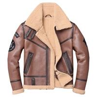 HARLEY DAMSON Brown Men Military Pilot Shearling Coat Plus Size XXXXL Genuine Thick Russian Winter Slim Fit Aviator Fur Coat