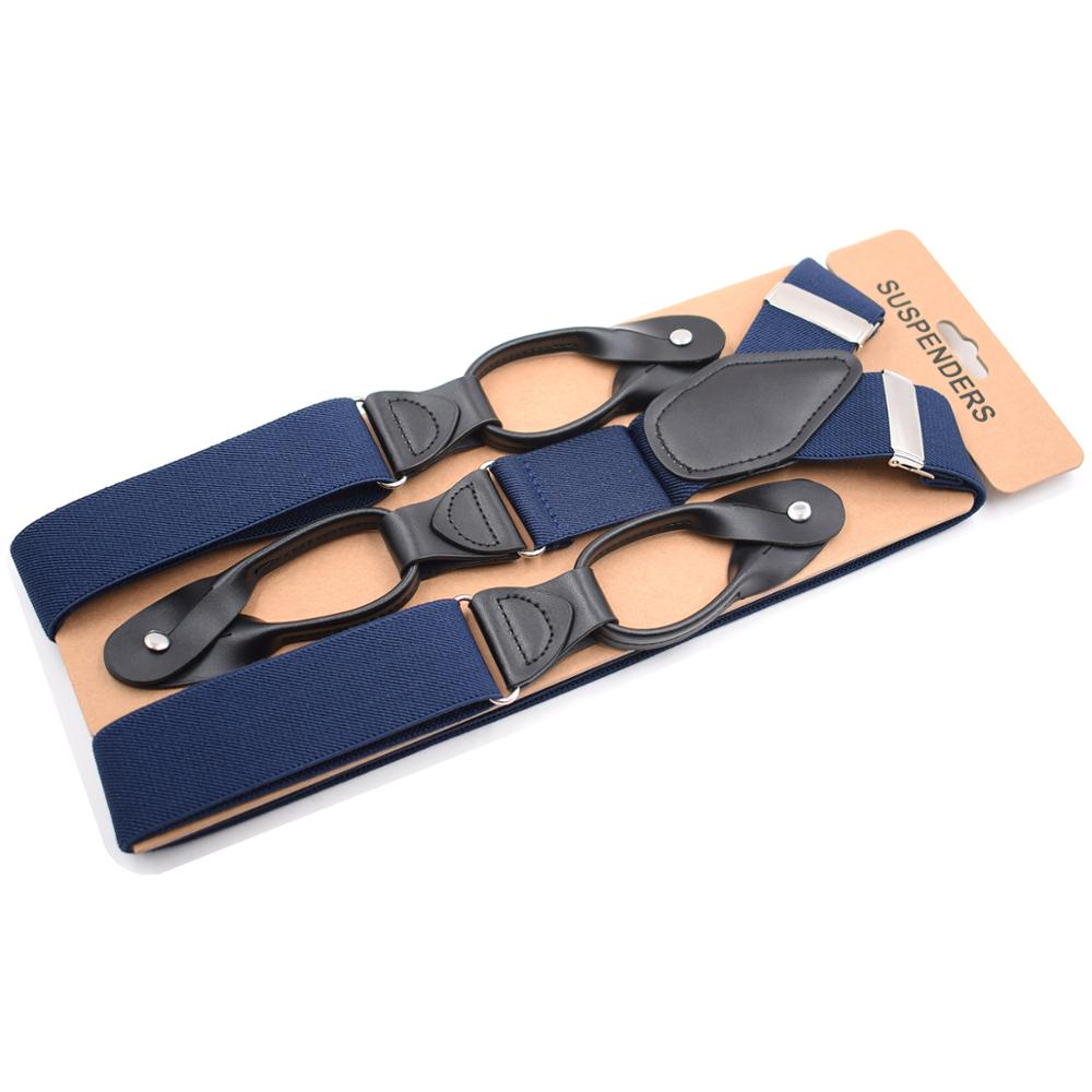 Mens Suspenders Braces Navy Blue Leather Trimmed Button End Wedding Banquet Tuxedo Suspenders For Men Father Husband