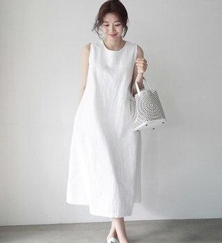 Bawełna i konopi kamizelka bez rękawów sukienka elegancka sukienka biała sukienka kobiety sukienka długa sukienka
