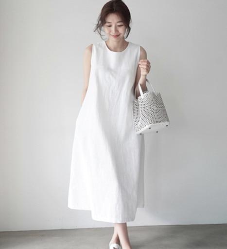 Cotton And Hemp Sleeveless WAISTCOAT DRESS Elegant Dress  White Dress  Women Dress  Long Dress