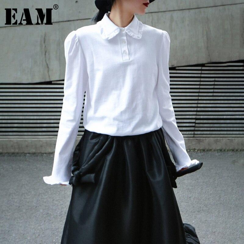 [EAM] Women White Ruffles Split Joint Brief Blouse New Lapel Long Sleeve Loose Fit Shirt Fashion Tide Spring Autumn 2020 1N958