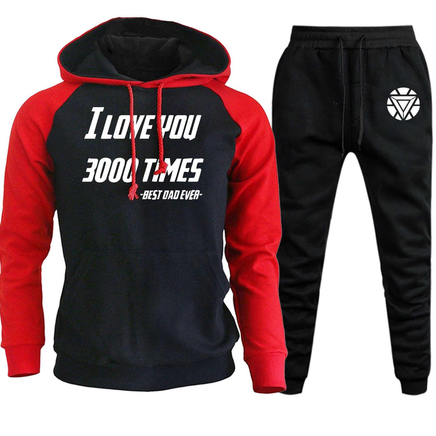 Mannen Raglan Hoody Sportkleding De Avengers Iron Man I Love U 3000 Fleece Trui + Joggingbroek Sets Grappige Mannelijke Pak fleece Hooded