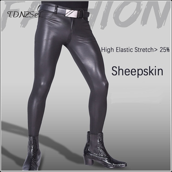 Men Sexy Soft Latex Leather Sheepskin Exotic Skinny Pants Elastic Latex Pantyhose Gay Punk Leggings Custom Fetish Dance Costume цена 2017