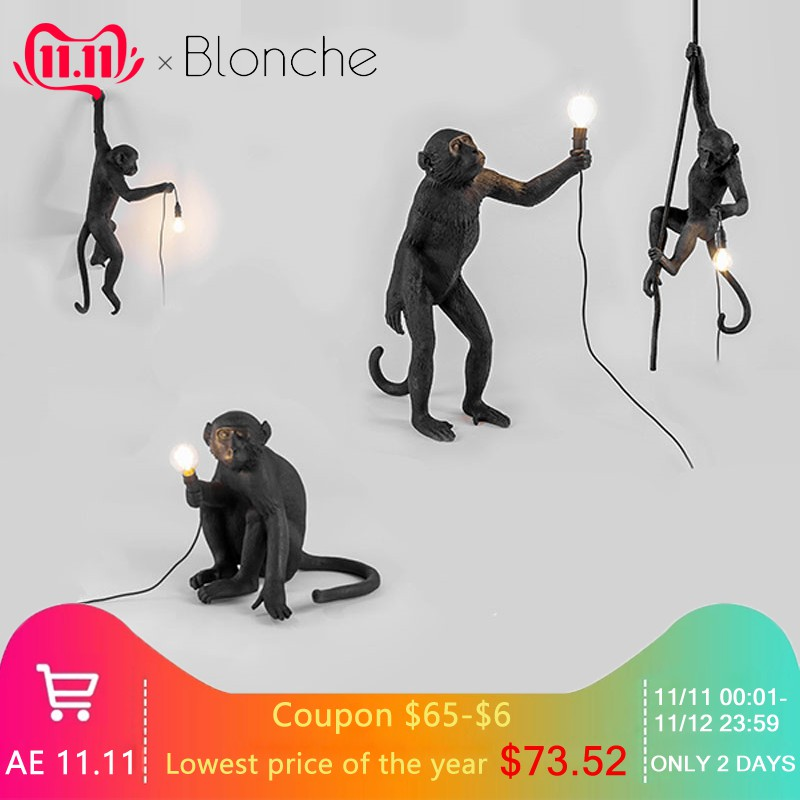 Modern Black/White Monkey Pendant Lights Modern Hemp Rope Replicas Seletti Hanging Lamp Dining Room Loft Industrial Home Decor