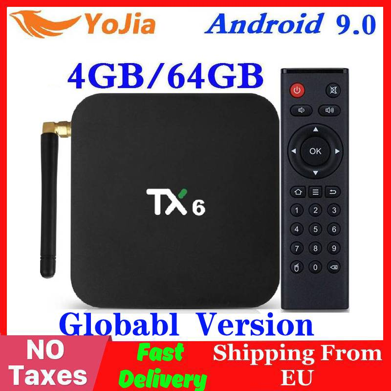 Android 9.0 Smart TV Box TX6 Allwinner H6 4GB RAM 64GB ROM 32G 4K 2.4G/5GHz Dual WiFi 2G16G PK Q Plus Mini Media Player