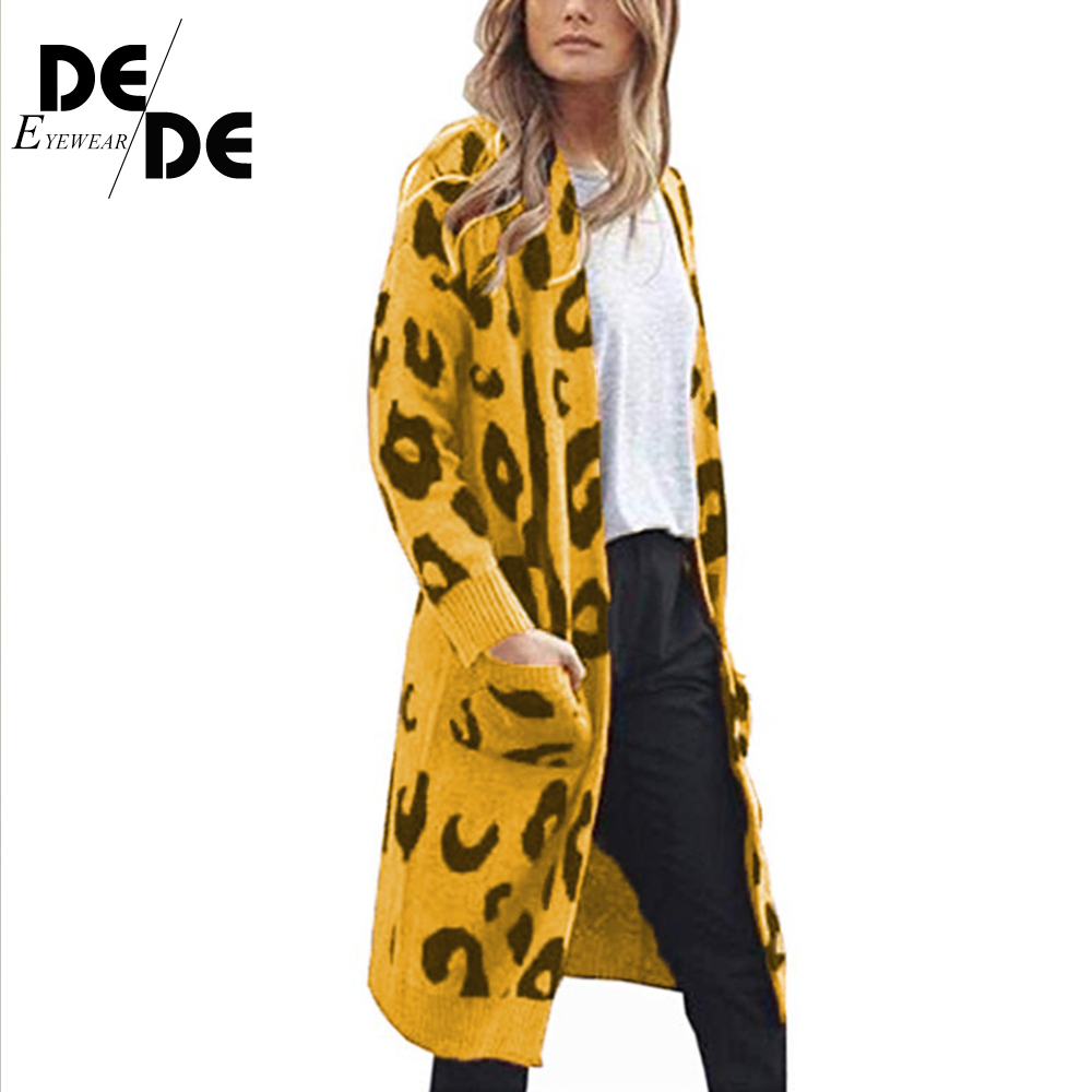 Knitted Female Cardigan pull femme Autumn Winter Fashion Women Long Sleeve loose Leopard knitting cardigan sweater