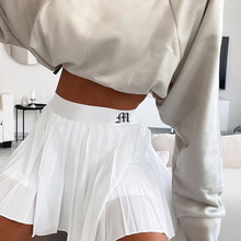 2020 New pleated Skirt A-line White High Waist Mini Tennis Skirt