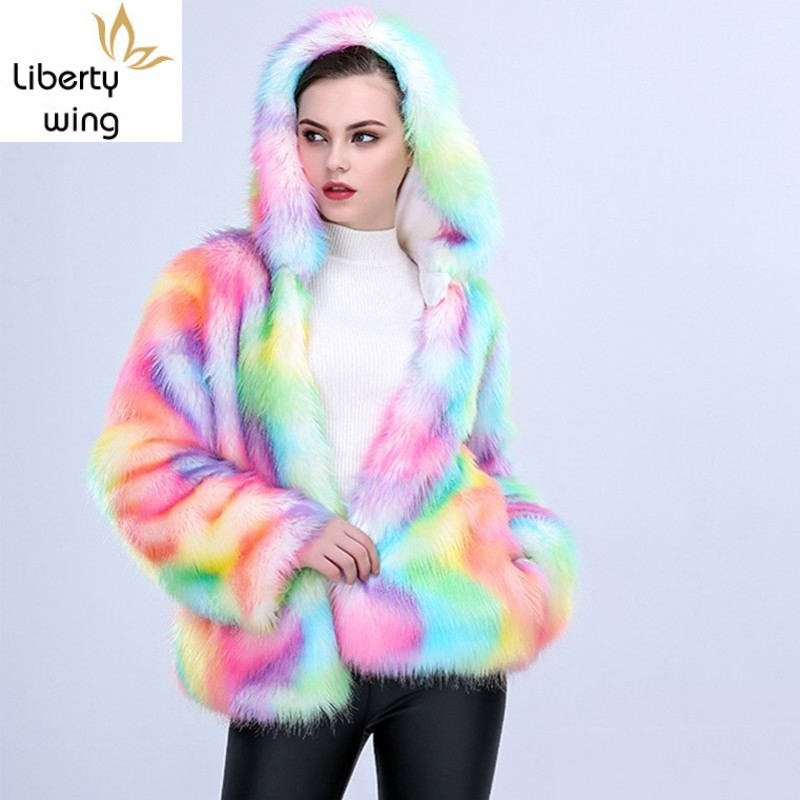 Hot Sale European Women Faux Fox Fur Hoody Coat Bright Colorful Halloween Cosplay Hoodie Jacket Boyfriend Loose Warm Overcoat