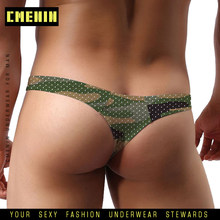 Camouflage Mesh Gay Mannen Ondergoed Jockstrap Thongs Mens Thongs en G Strings Ademend Sissy Panties Underpant Lingerie AD311(China)