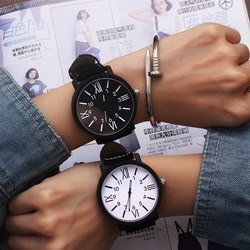 1pcs Romantic Big Dial Watch Leather Band Watch Fashion Cute Wristwatch Women Men Clock Quartz Watches Women Clock