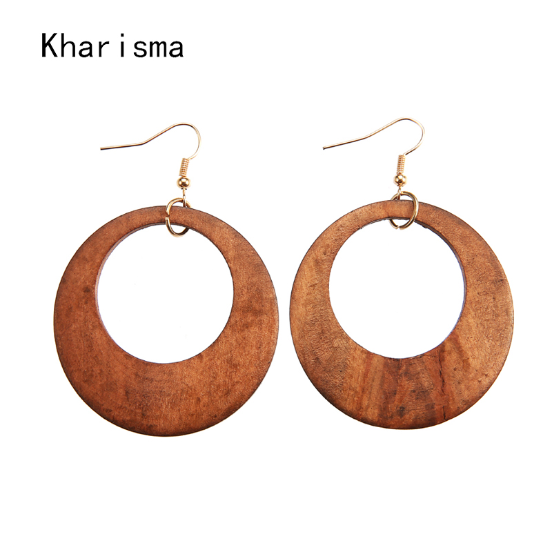 KHARISMA 2019 Trendy Women A Pair Brown Round Hollow Wooden Drop Earrings Fashion Jewelry Ethnic African Indian Dangle Earrings