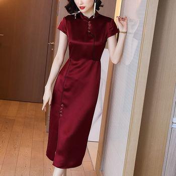 Vestido de manga corta Cheongsam para mujer, novedad de verano del 2021, Vestidos largos de estilo chino con elegancia mejorada, B191