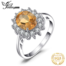 JewPalace Princess Diana Genuine Citrine Ring 925 Sterling Silver Rings for Women Engagement Ring Silver 925 Gemstones Jewelry