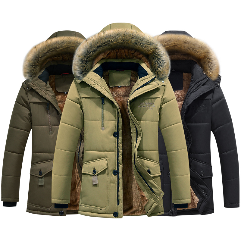 Winter Jacket Men Plus Size 6XL 7XL 8XL Thick Warm Parka Fleece Fur Hooded Casual Jacket Coat Pockets Windbreaker Outwear ,GA488