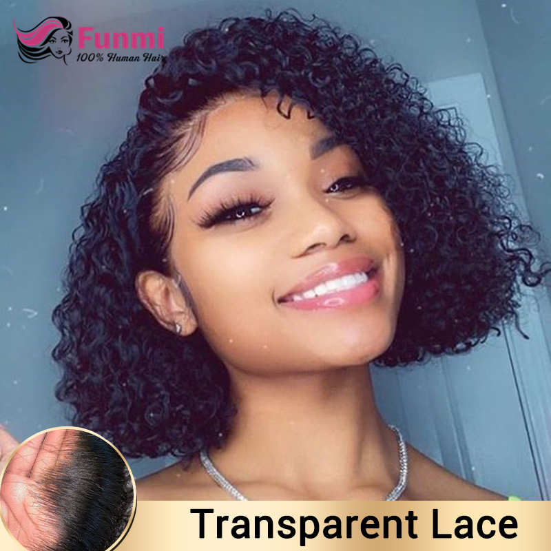 Brazilian Short Curly Wig Transparent Lace Front Human Hair Wigs Pre-Plucked Remy Jerry Curly Bob Closure Wig Human Hair Wigs