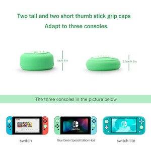 Image 2 - Hayvan geçişi köpek Isabelle ayı yaprak Thumb çubuk kavrama Cap Joystick kapak Nintendo anahtarı NS için Lite Joy con kumanda muhafazası