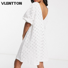 2020 Spring Summer White Sexy V-Neck Backless Mini Party Dress Women Hollow Out