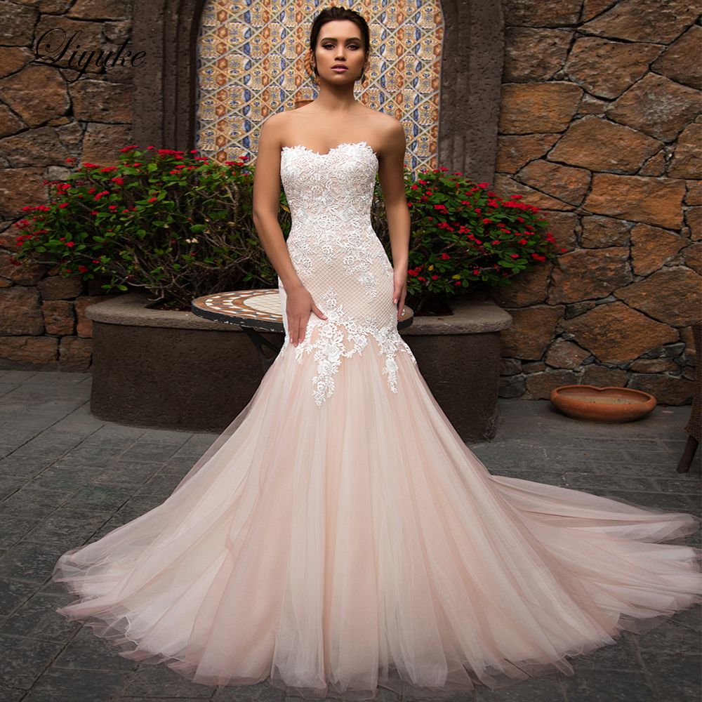 Liyuke Pink Flush Mermaid Strapless Wedding Dress With Gorgeous Tulle Bridal Dress