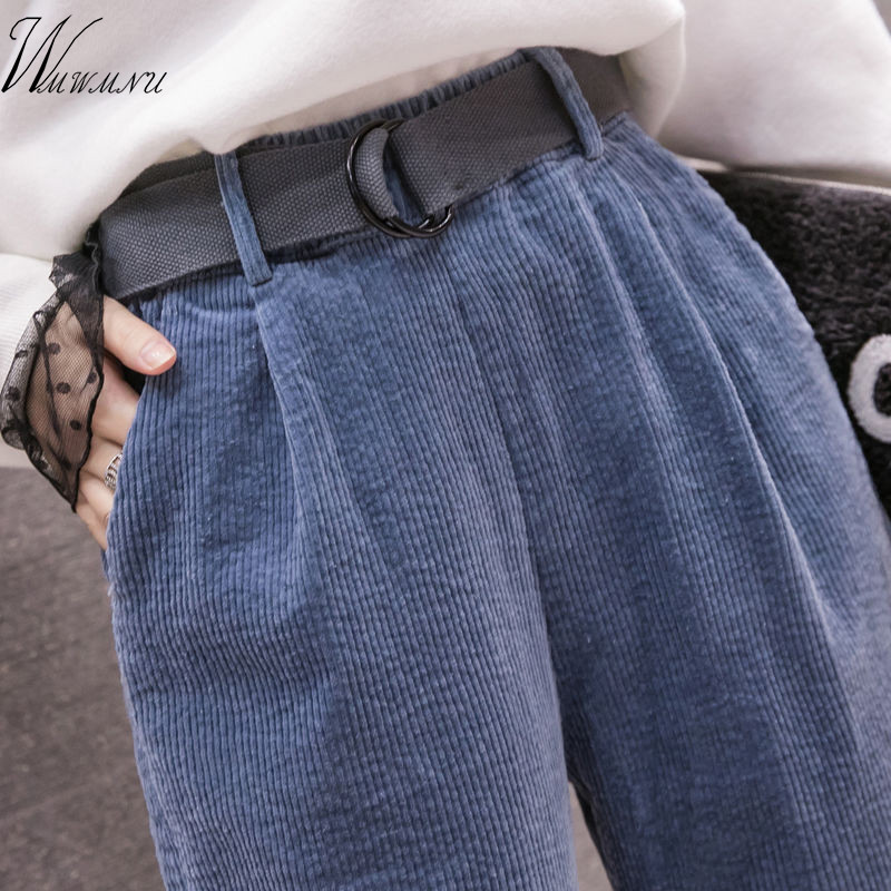 Corduroy Pants Harem Pants Autumn Winter Women Long Pants Elastic Waist Casual Black Trousers Pantalones Mujer Cintura Alta