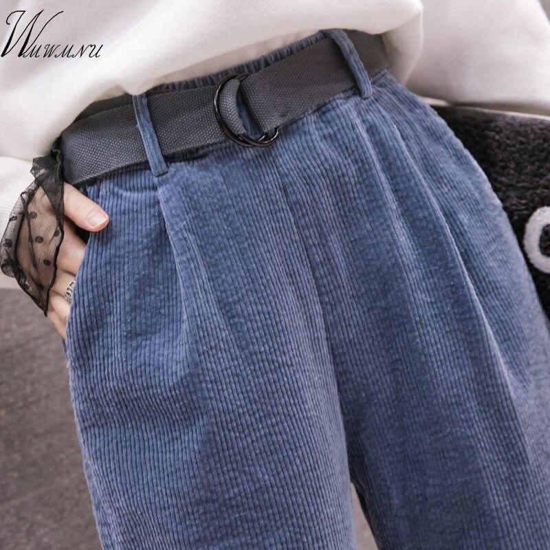 Corduroy Pants Harem Pants Autumn Winter Women Long Pants Elastic Waist Casual Black Trousers Pantalones Mujer Cintura Alta