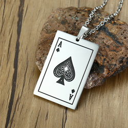 Vnox Lucky Ace Of Spades Mens Necklace Color Poker Pendant for Male Stainless Steel Casino Fortune Playing Cards