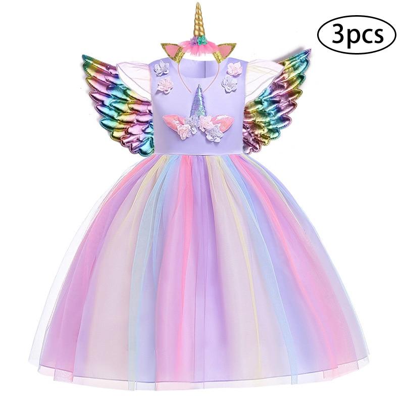 H9f2ca559fe1a43dd903ca06fe2fb813au New Girls Dress 3Pcs Kids Dresses For Girl Unicorn Party Dress Christmas Carnival Costume Child Princess Dress 3 5 6 8 9 10 Year