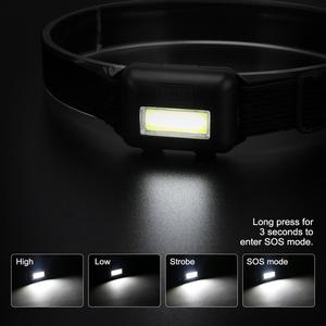 Image 2 - SANYI 2000 LM Mini Headlight Flashlight 3 Modes Head Torch Powered by 3*AAA Battery COB LED Super Bright Headlamp for Camping