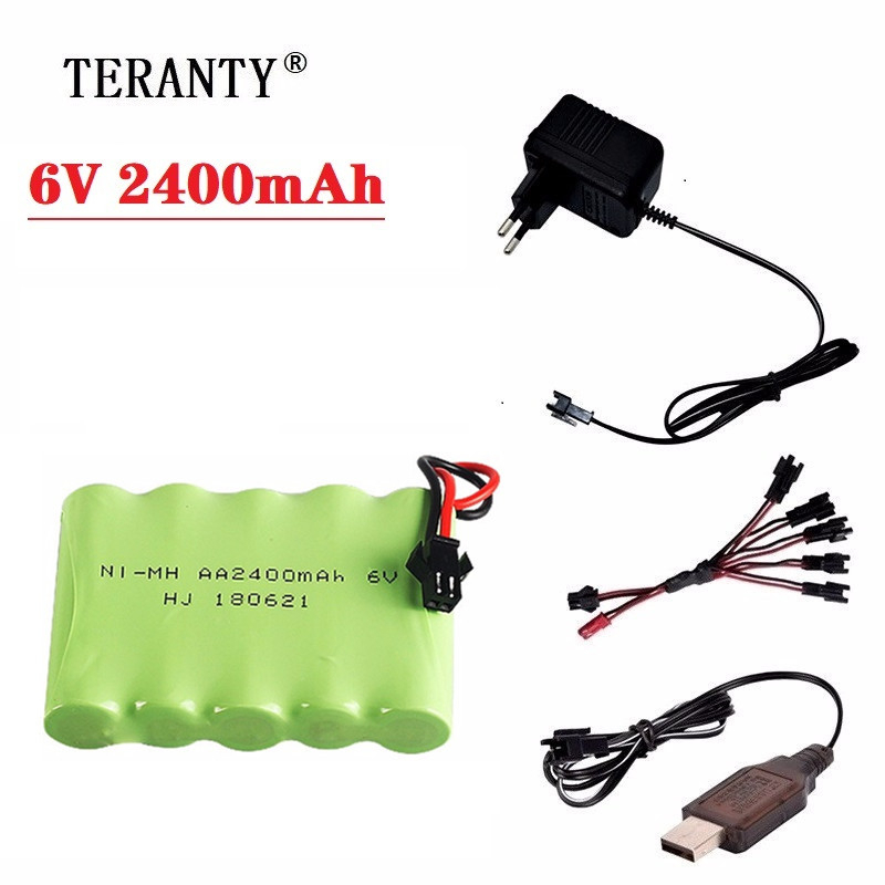 <font><b>6v</b></font> 2400mah Rechargeable Battery + <font><b>6V</b></font> <font><b>USB</b></font> <font><b>Charger</b></font> For Rc toys Cars Tanks Robots Gun RC Boat AA Ni-MH <font><b>6v</b></font> 2400mah NiMH Battery Pack image