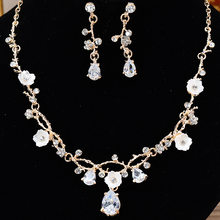 Europe And America Fashion Chain Alloy Man-made Diamond Necklace And Earrings Suite Bride Wedding Fashion Parts(China)