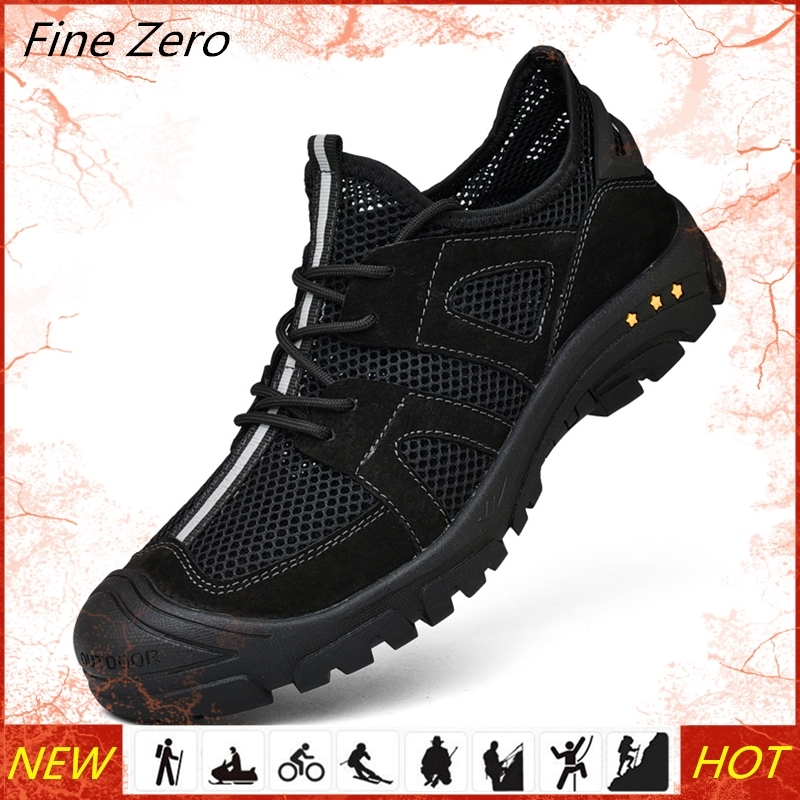 New Outdoor Sports Camping Shoes For Men Tactical Hiking Upstream Shoes Summer Breathable Waterproof Coating Men Hunting Boots