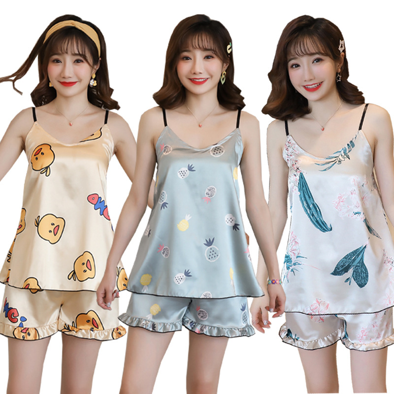 2020 New Style With Chest Pad Women's Summer Spaghetti Strap Pajamas Online Celebrity Small Yellow Duck GIRL'S Imitated Silk Fab