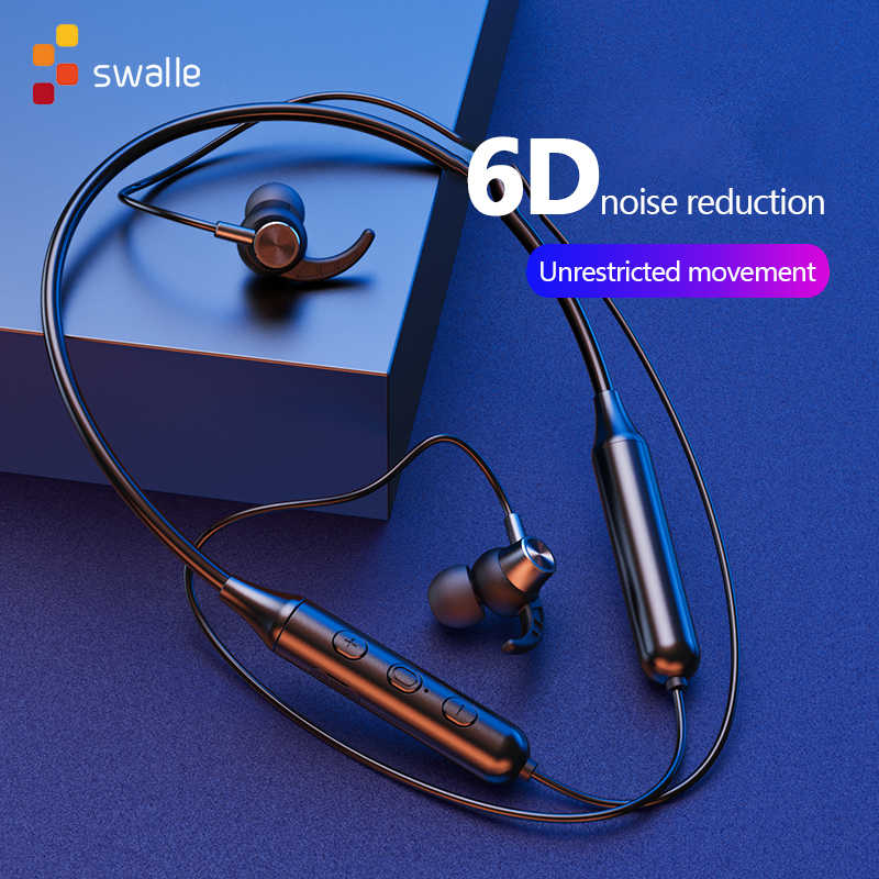 Swalle Bluetooth 5.0 Wireless Olahraga Earphone Stereo Subwoofer Menggantung Leher Gantung Logam Magnetic Bluetooth Headphone