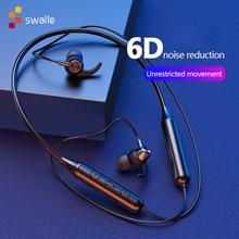Swalle Bluetooth 5.0 sans fil sport écouteur stéréo Subwoofer suspendus cou suspendu métal magnétique Bluetooth casque