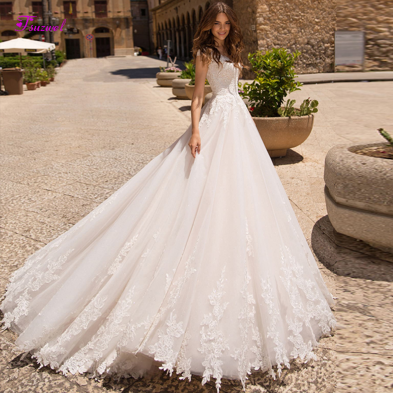 Fsuzwel Graceful Appliques Cap Sleeves A-Line Wedding Dresses 2019 Luxury Beaded Princess Bridal Gown Vestido De Noiva Plus Size