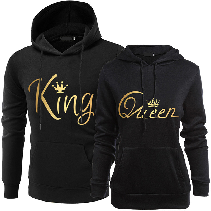 KING QUEEN Casual Hooded Couple Print Hooded Top Sexy Fashion Letter Women T Shirt 2020 Couples Women's Clothing