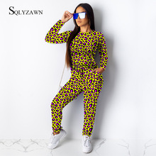 2019 Leopard Print Two Piece Set Suit Women Sexy Round Neck Long Sleeve Top High Waist Leopard Sweatpants Matching Set Tracksuit active round neck drawstring waist tracksuit in beige