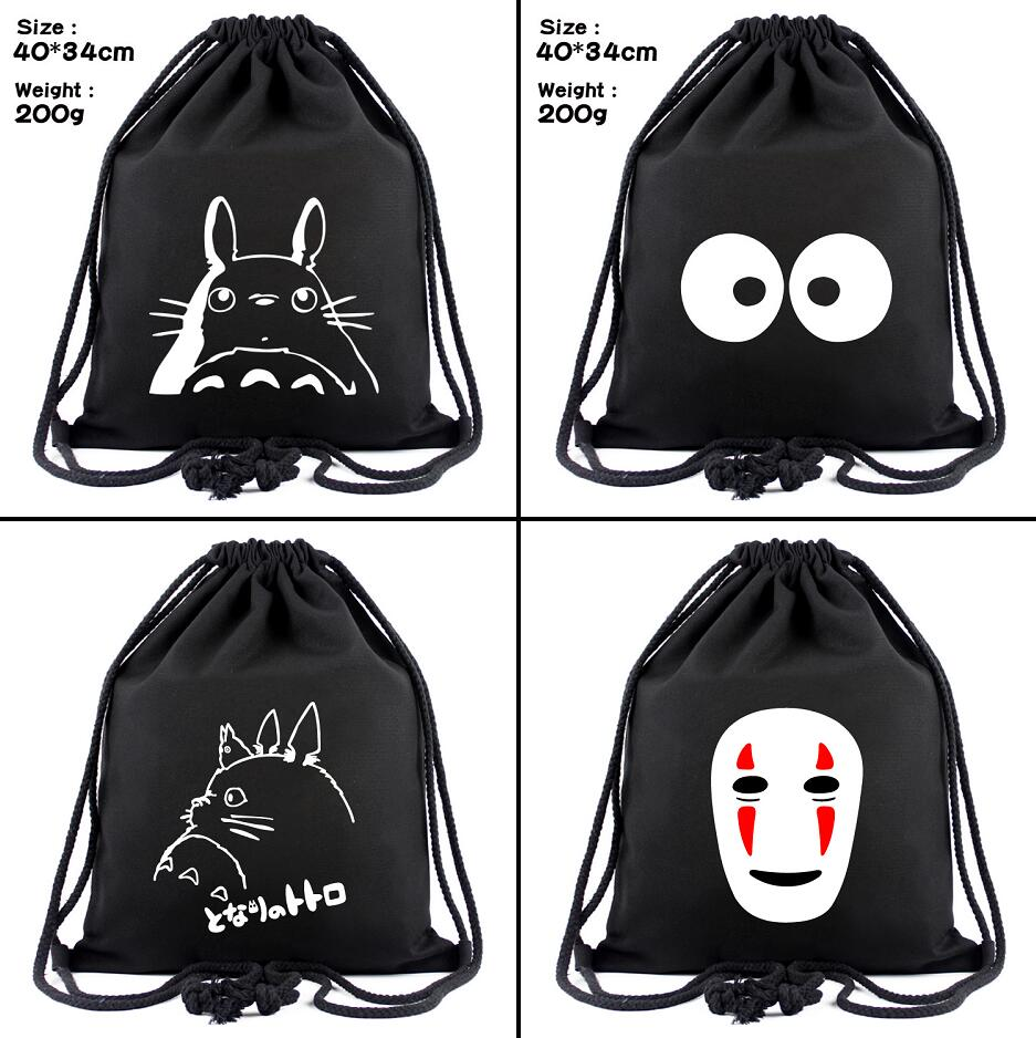Ghibli My Neighbor Totoro Canvas Drawstring Bags No Face Man Backpack Cosmetic Stringbag Cartoon Casual Beach Bag Shoes Pouch