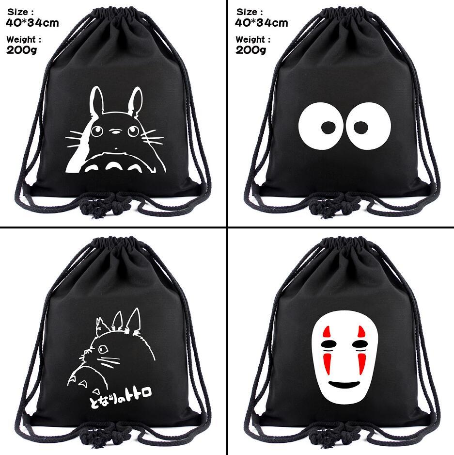 Ghibli My Neighbor Totoro Canvas Drawstring Bags No Face Man Backpack Cosmetic Stringbag Cartoon Casual Beach Bag Shoes Pouch