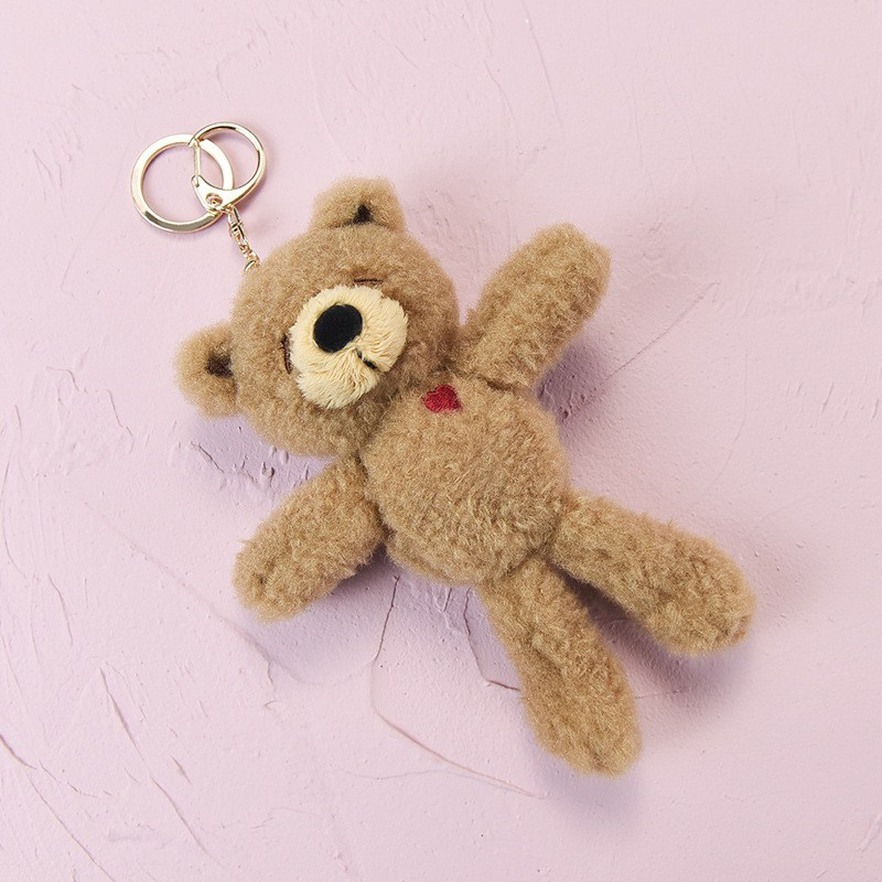18cm Plush Kawaii Bear Keychain Stuffed TOY Doll Mini Animal Key Chain Pendant Plush Small Bear Toys Gifts For Children