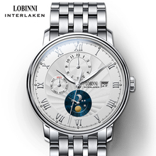 лучшая цена Switzerland wrist watch LOBINNI Men Watches  Seagull Automatic Mechanical Clock Sapphire Fashion relogio masculino L1023B-8