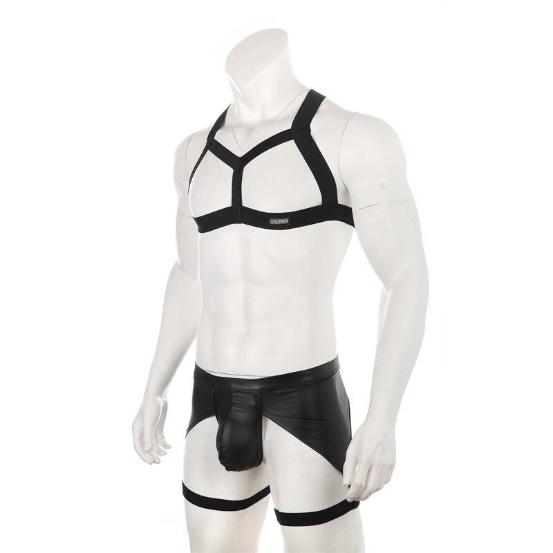 Men Faux Leather Underwear Sexy Chest Harness Set Elastic Shoulder Bondage Leg Strap Belt G String Hombre Thong Costume