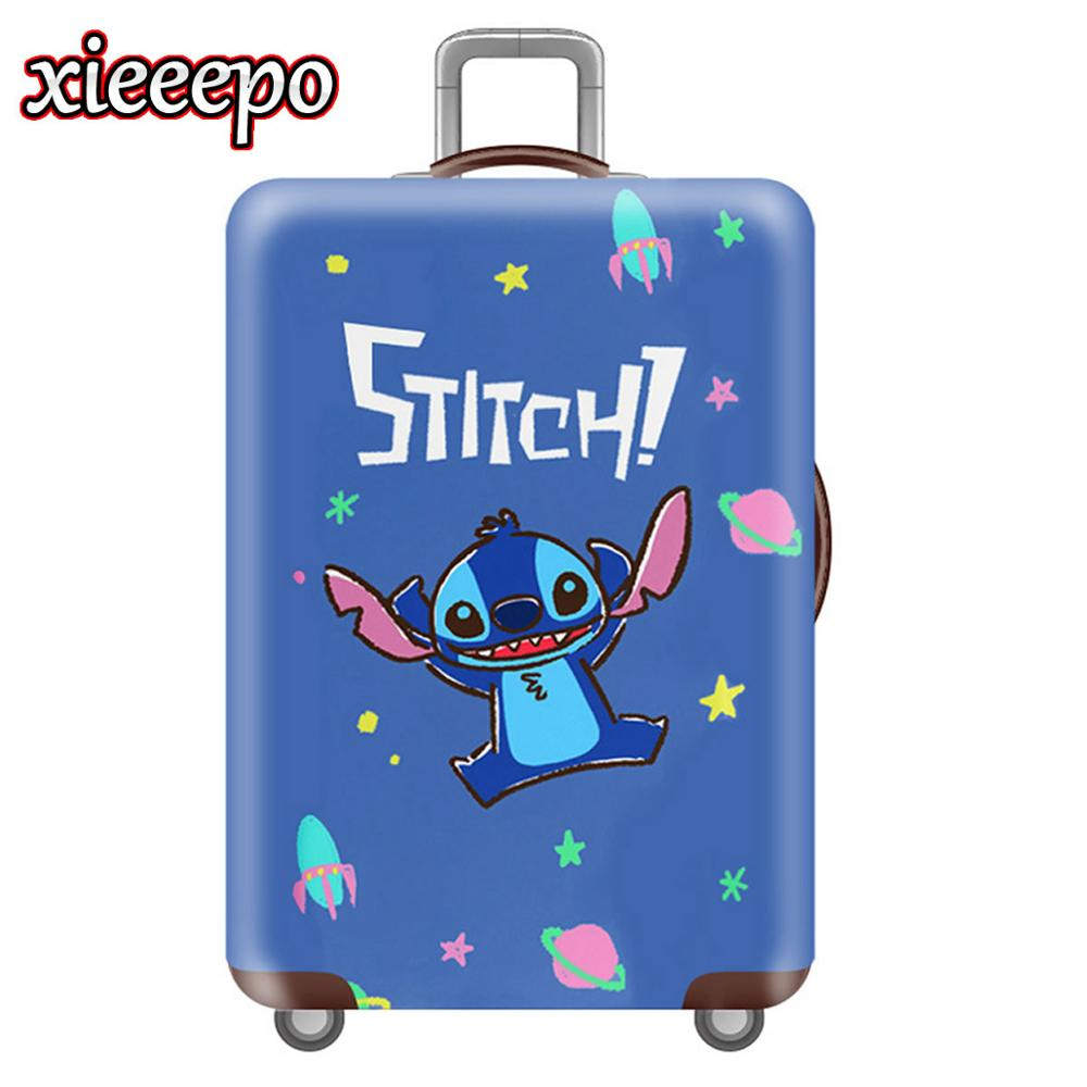 Cute 3D Stitch Luggage Cover Blue Protective Case Waterproof Thicken Elastic Suitcase Cover For 18-32 Inch XL Travel Accessorie