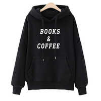 Mode Bücher & Kaffee Druck Kawaii Streetwear Sweatshirts Hoodies Jugend Frauen Herbst Winter für Frauen Hip Hop Pullover Tops