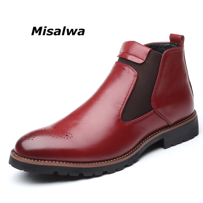 Misalwa Autumn Winter 2019 Men Chelsea Boots Black Red Yellow Microfiber Leather Brogue Boots Bullock Men Casual Shoes Big Size