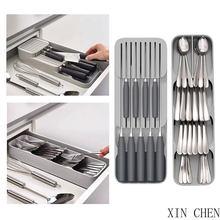 Organizador de cocina caja de almacenamiento de cubiertos caja de plástico cuchillo bloque soporte cajón cuchillos tenedor cucharas estante de almacenamiento cuchillo soporte gabinete bandeja