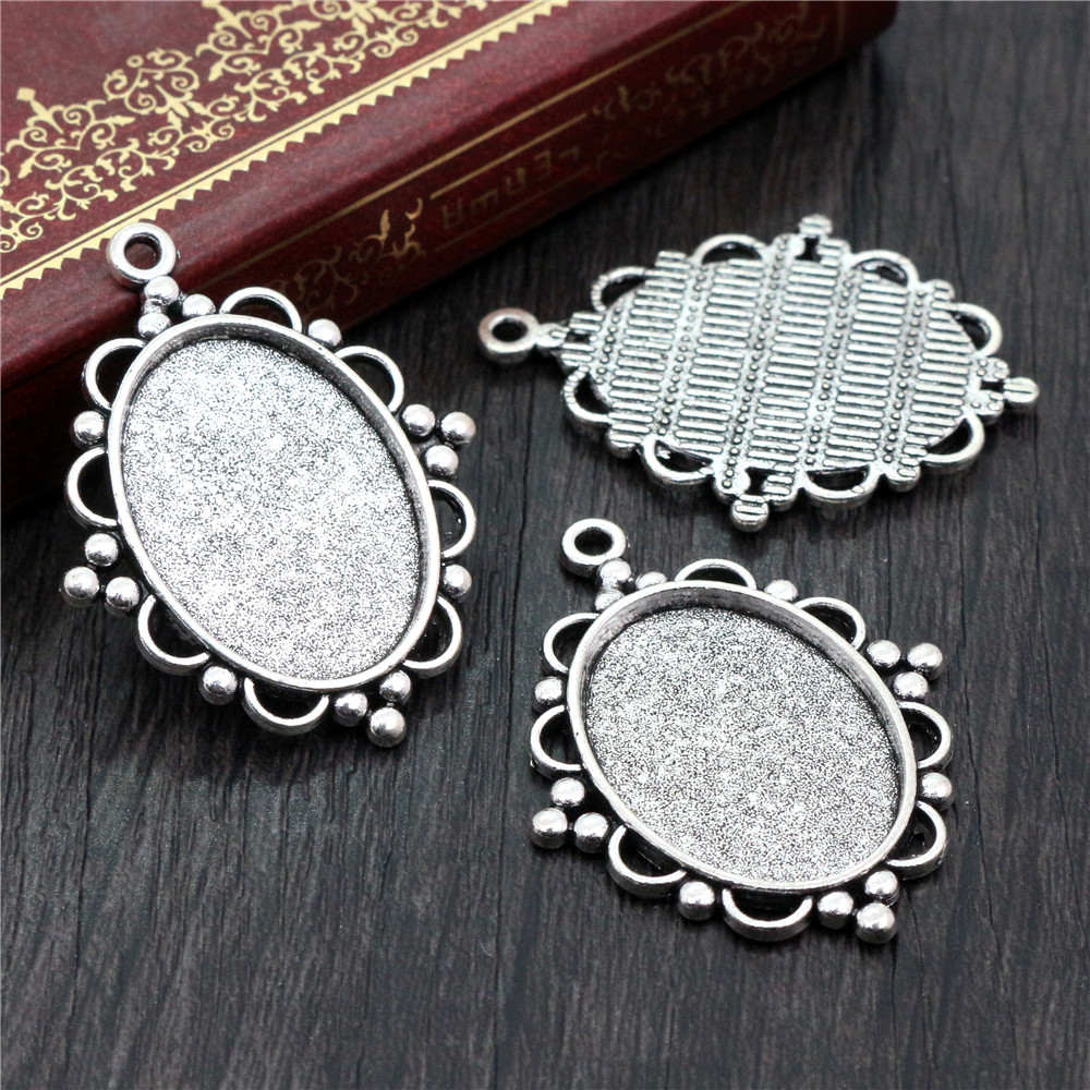 10pcs 18x25mm Inner Size Antique Silver Plated Flowers Style Cameo Cabochon Base Setting Charms Pendant Necklace Findings