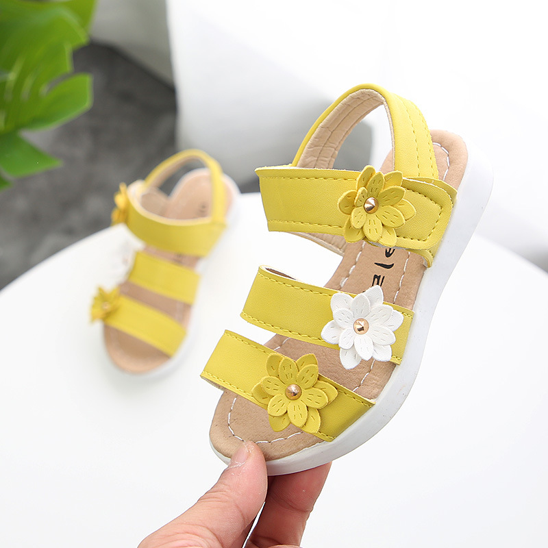 ULKNN New Style Summer Girl Sandal Beach Children Sandal Flowers Princess Sandal Fashion Kids Shoes White Yellow Pink