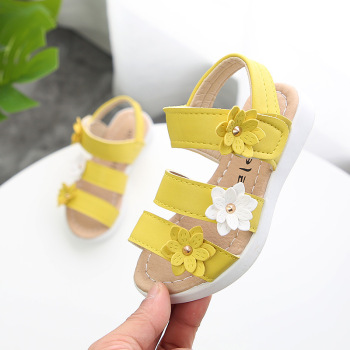 цена ULKNN New Style Summer Girl Sandal Beach Children Sandal Flowers Princess Sandal Fashion Kids Shoes White Yellow Pink онлайн в 2017 году