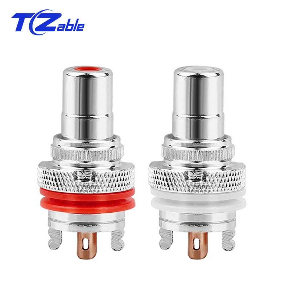 RCA Female Socket Chassis HiFi CMC Connector Rhodium Plated Copper Jack 32mm Copper Plug Amp White Red Audio Jacks Adapter