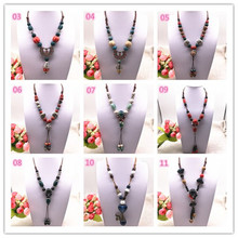 Fashion Ethnic Jewelry Traditional Handmade Ornaments Weave Wax Rope Ceramics Necklace Beads Pendant Long